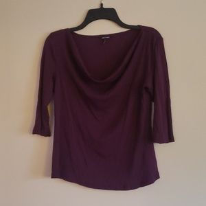 Purple 3/4 Sleeve Drapped Neckline Large